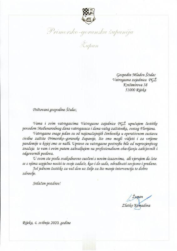Čestitka župana Zlatka Komadine